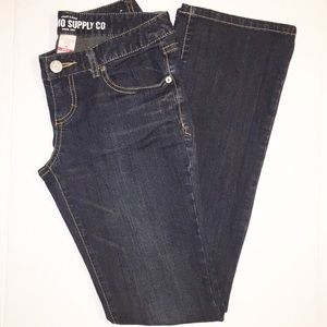 Mossimo boot cut dark wash jeans with fading